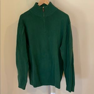 J Crew 1/4 Zip Hunter Green Sweater - Size XL